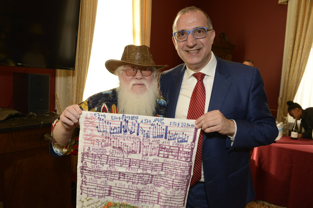 Hermeto Pascoal with Tom Novak at New England Conservatory